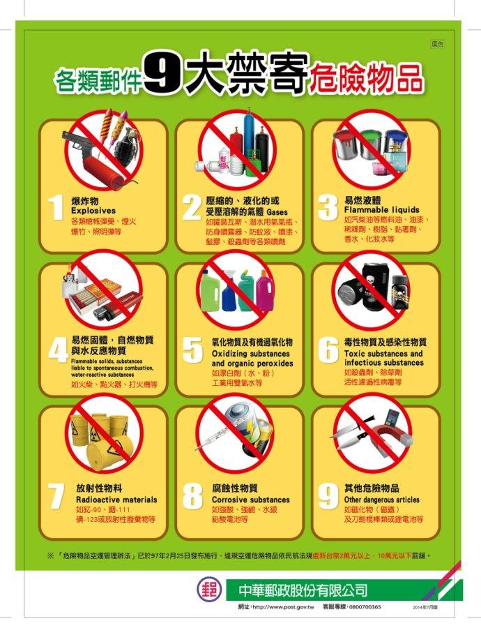 郵件九大禁寄危險物品